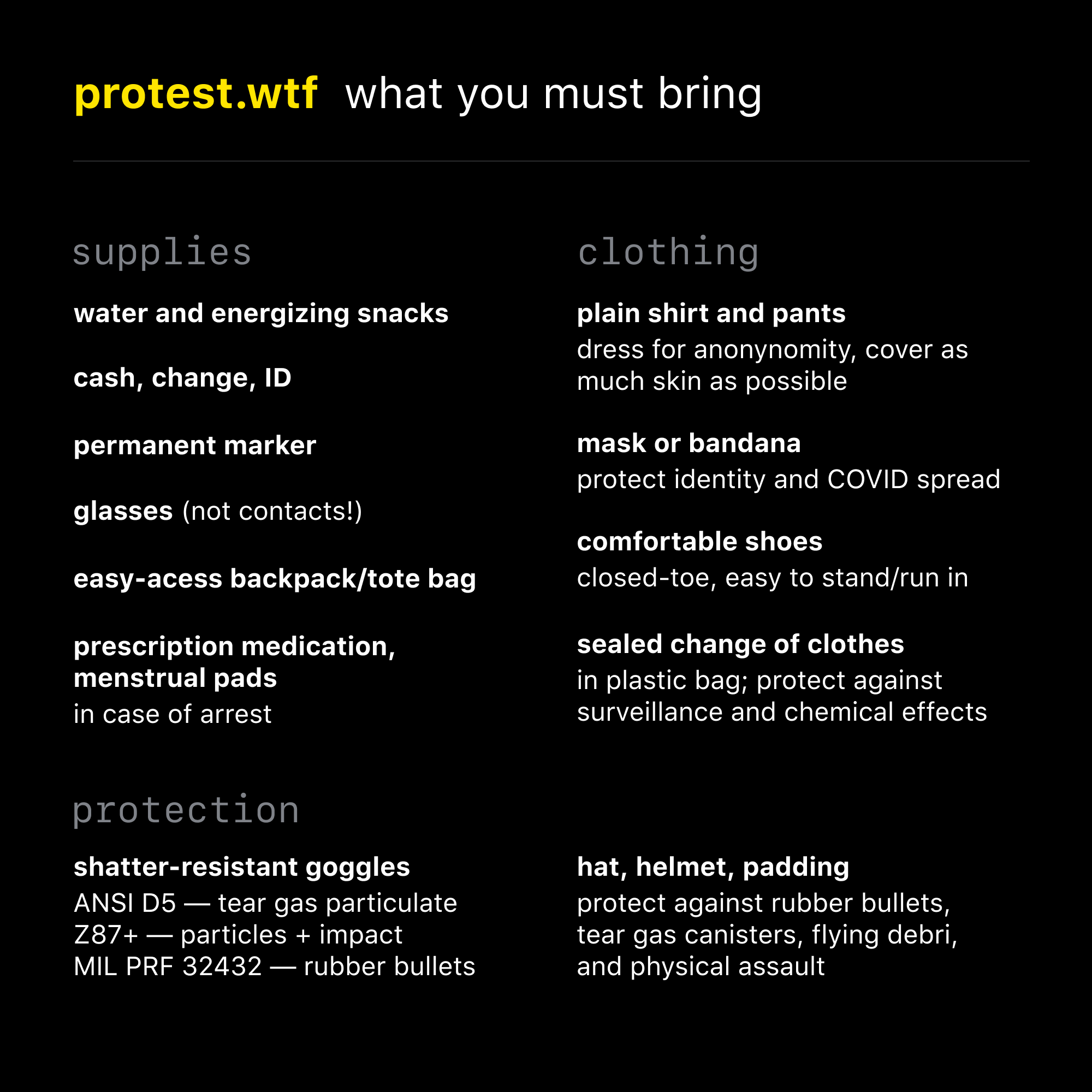 What to bring to a protest