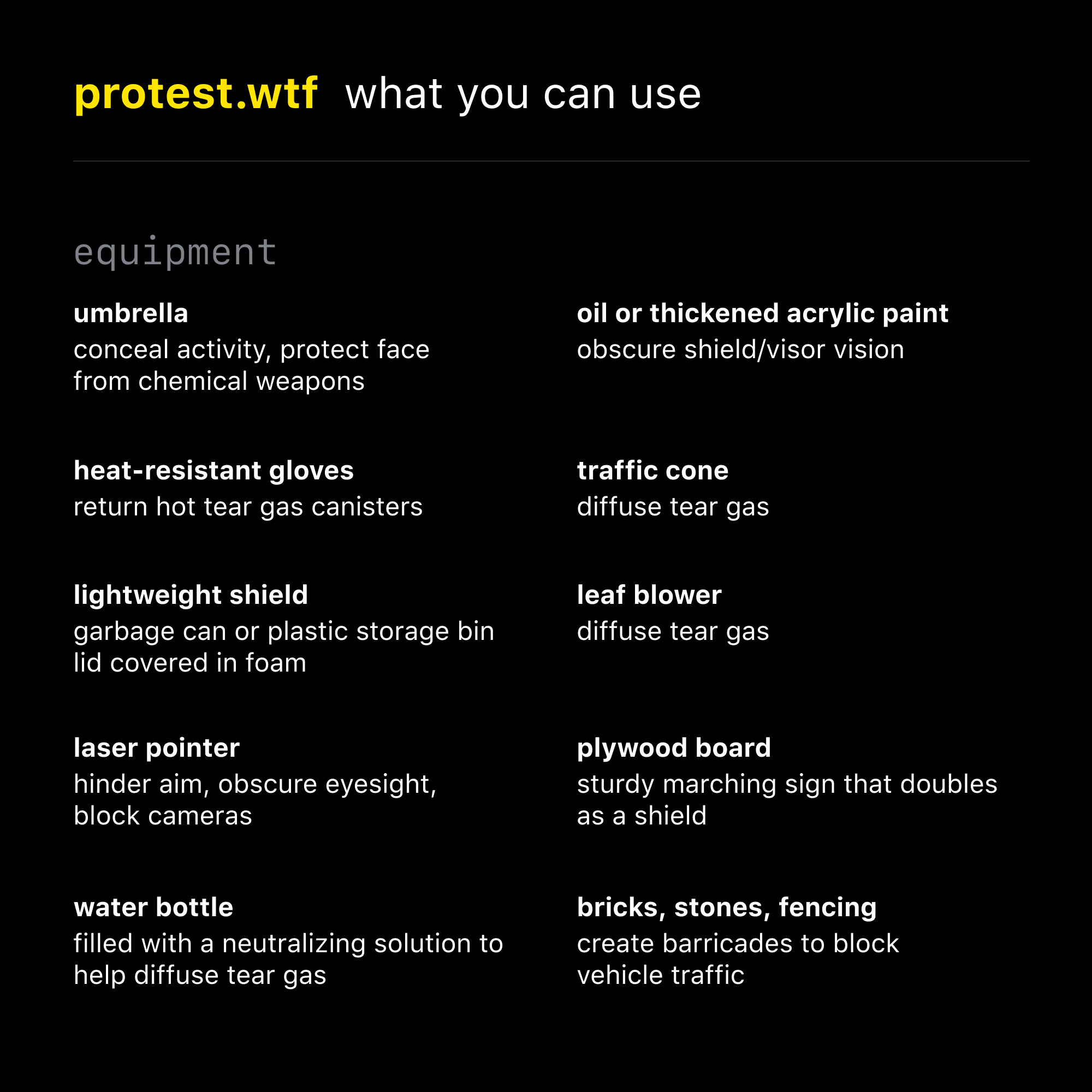 What you can use to protect yourself at a protest